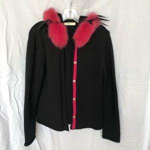 Elisa Cavalettie Black Knit Fur Jacket